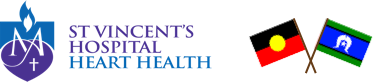 St Vincent's Heart Health logo with Aboriginal and Torres Strait Islander flags